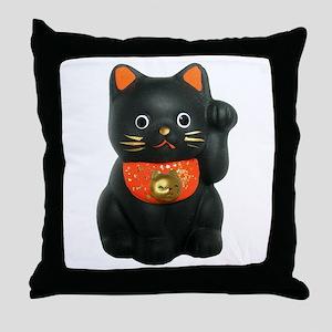 Black Lucky Cat Throw Pillow