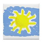 Painted Sun Tile Coaster