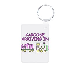 DUE IN APRIL Keychains