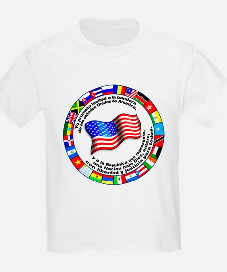 Circle of Flags and Pledge of Allegiance Kids T-Sh