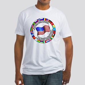 Circle of Flags and Pledge of Allegiance Fitted T-