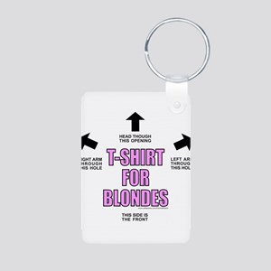 FOR BLONDES Aluminum Photo Keychain