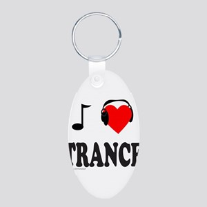 TRANCE MUSIC Aluminum Oval Keychain