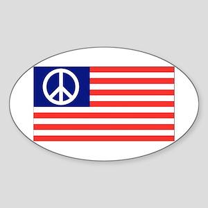 American Peace Flag Oval Sticker