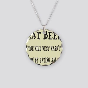 EAT BEEF Necklace Circle Charm
