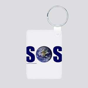 SOS EARTH Aluminum Photo Keychain