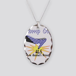 ALS AWARENESS Necklace Oval Charm