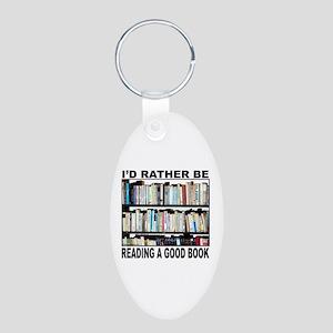 BOOK LOVER Aluminum Oval Keychain