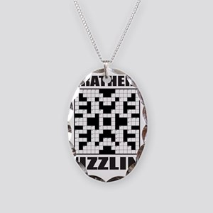 CROSSWORD Necklace Oval Charm