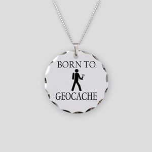 BORN TO GEOCACHE Necklace Circle Charm