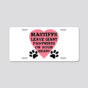 Mastiff Pawprints Aluminum License Plate