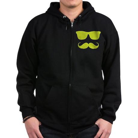 cool moustache Zip Hoodie (dark)