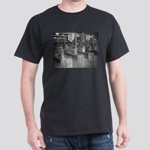 Retro Grocery Cashiers Black T-Shirt