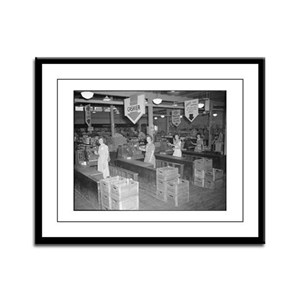 Retro Grocery Cashiers Framed Panel Print