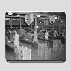 Retro Grocery Cashiers Mousepad