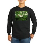 White Flower Long Sleeve Dark T-Shirt