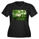White Flower Women's Plus Size V-Neck Dark T-Shirt