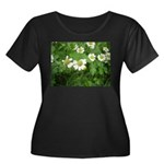 White Flower Women's Plus Size Scoop Neck Dark T-S