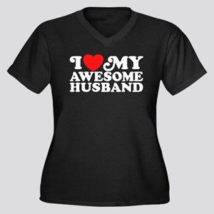 I Love My Awesome Husband Women's Plus Size V-Neck