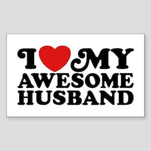 I Love My Awesome Husband Sticker (Rectangle)