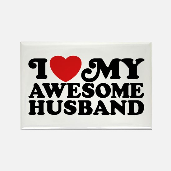 I Love My Awesome Husband Rectangle Magnet
