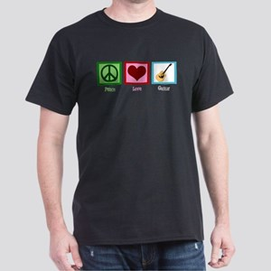 Peace Love Guitar Dark T-Shirt