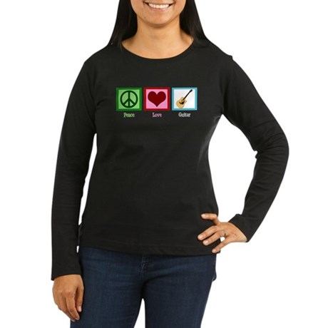 Peace Love Guitar Women's Long Sleeve Dark T-Shirt