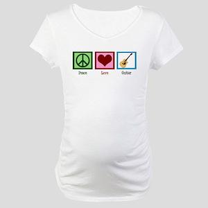 Peace Love Guitar Maternity T-Shirt
