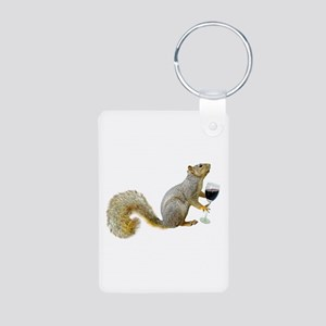 Squirrel with Wine Aluminum Photo Keychain