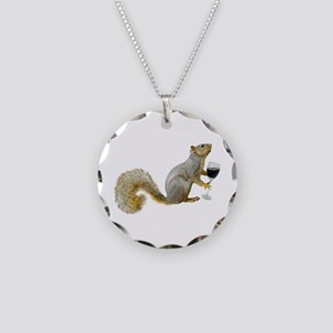 Squirrel with Wine Necklace Circle Charm