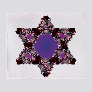 Flower Star Purple BG Throw Blanket