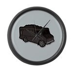 Food Truck: Basic (Black) Large Wall Clock