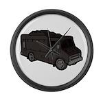Food Truck: Basic (Black) Large Wall Clock