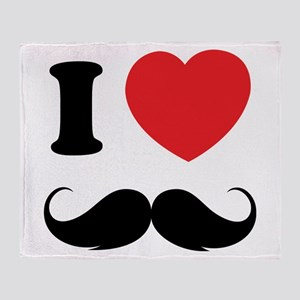 I love moustache Throw Blanket