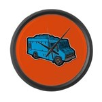 Food Truck: Basic (Blue) Large Wall Clock