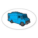 Food Truck: Basic (Blue) Sticker (Oval 10 pk)