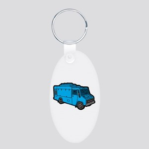 Food Truck: Basic (Blue) Aluminum Oval Keychain