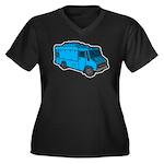 Food Truck: Basic (Blue) Women's Plus Size V-Neck