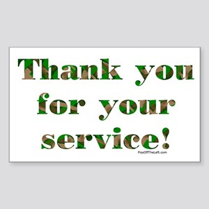 Camo Armed Forces Thank You Rectangle Sticker