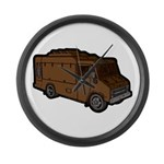 Food Truck: Basic (Brown) Large Wall Clock