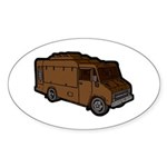 Food Truck: Basic (Brown) Sticker (Oval 10 pk)
