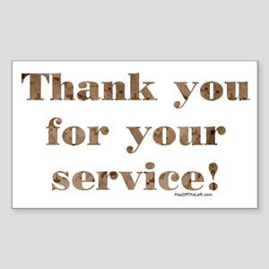 Desert Camo Servicemen Thank You Sticker (Rectangu