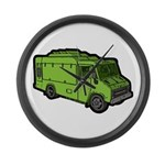 Food Truck: Basic (Green) Large Wall Clock