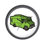 Food Truck: Basic (Green) Wall Clock