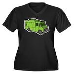 Food Truck: Basic (Green) Women's Plus Size V-Neck