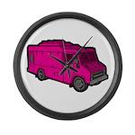 Food Truck: Basic (Pink) Large Wall Clock