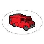 Food Truck: Basic (Red) Sticker (Oval 10 pk)