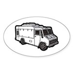 Food Truck: Basic (White) Sticker (Oval)