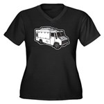 Food Truck: Basic (White) Women's Plus Size V-Neck