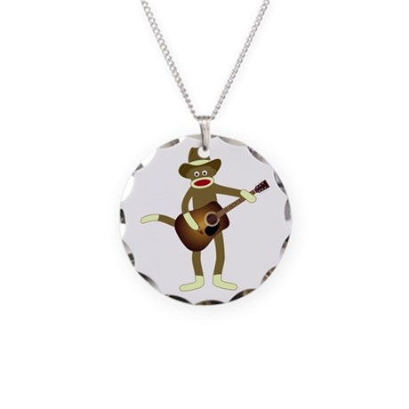 Sock Monkey Country Music Necklace Circle Charm